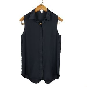 J.Crew black button up tank top size 8
